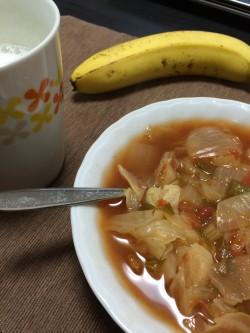 7日間脂肪燃焼ダイエット4日目の脂肪燃焼スープとバナナとスキムミルク