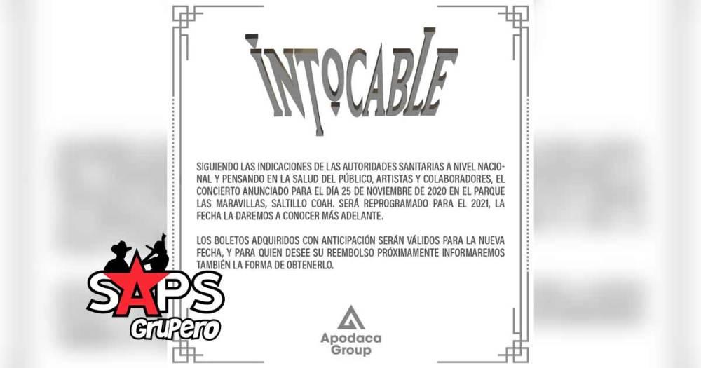 Intocable, pospone concierto en Saltillo