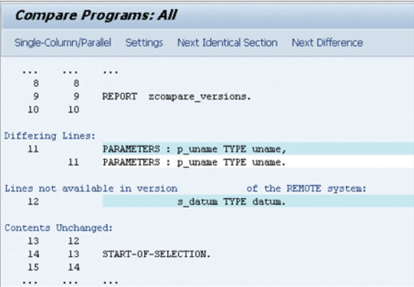 comparing two source code abap in two systems