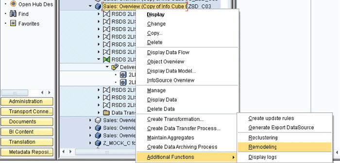 change-infocube-using-remodeling-rule-sap-bw
