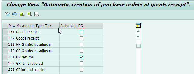 how to configure automatic purchase order creation during goods