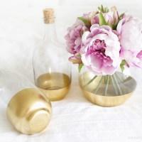 DIY Gold Dipped Glass Bottles (IKEA Hack)