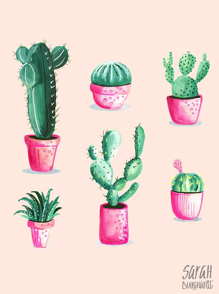 Watercolor Cactus by Sarah Burghardt