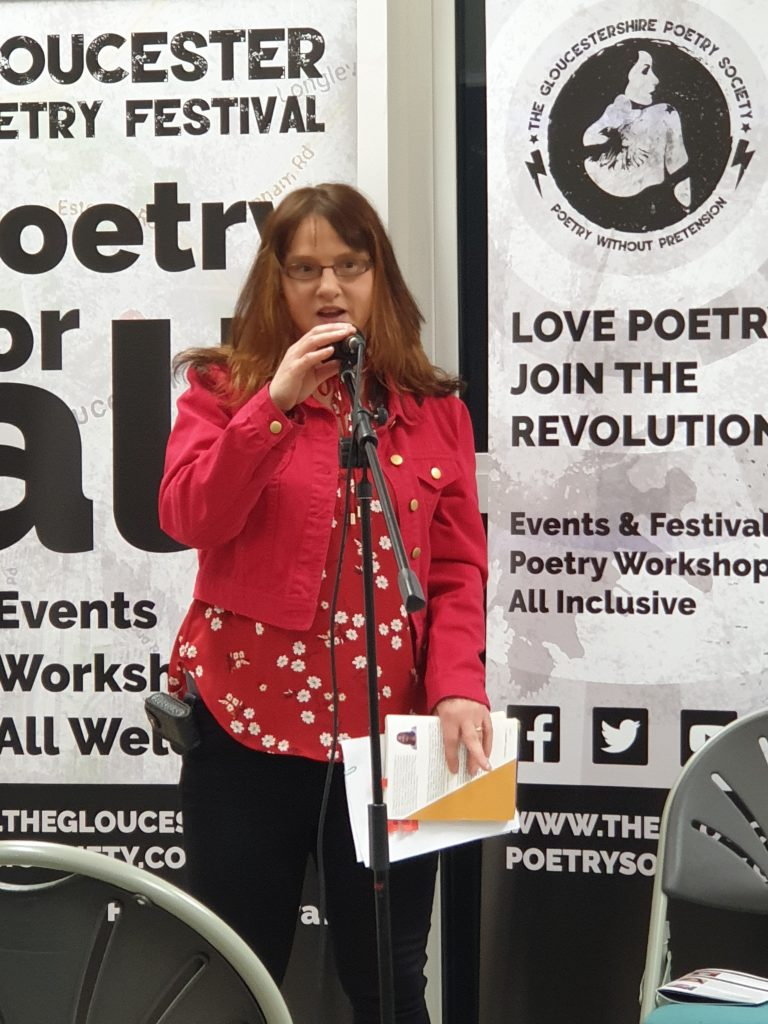 20191026_191823 Sarah at Gloucester Poetry Festival 2019