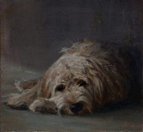 Bored Dog. Oil on panel. (26 x 26 cms)