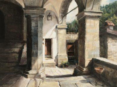Verrucola, Tuscany. Oil on panel. 28 x 34 cms