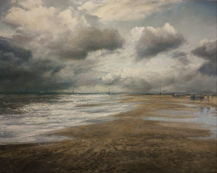 Distant Boys and Boat, Suffolk. Oil on panel (60 x 70cm)