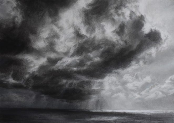 Dark Approaching in Seasalter. Pastel (61 x 77cms)
