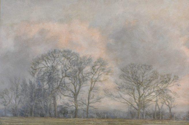 Trees, Elmley,. Oil on Panel. (34 x 43 cms)