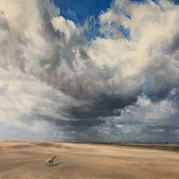 On the Beach, Oil on Panel (35 x 43 cms)