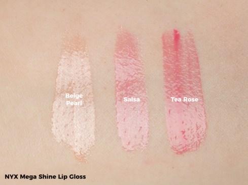 NYX Mega Shine Gloss Swatch - Beige Pearl, Salsa, Tea Rose