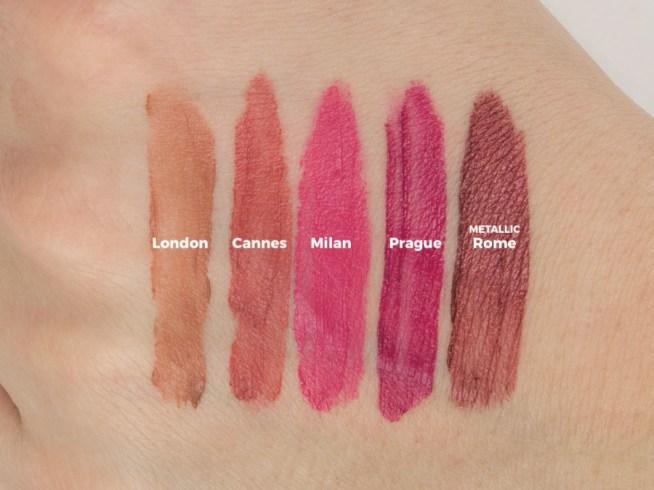 NYX Soft Matte Lip Cream Swatches - London, Cannes, Milan, Prague, Rome