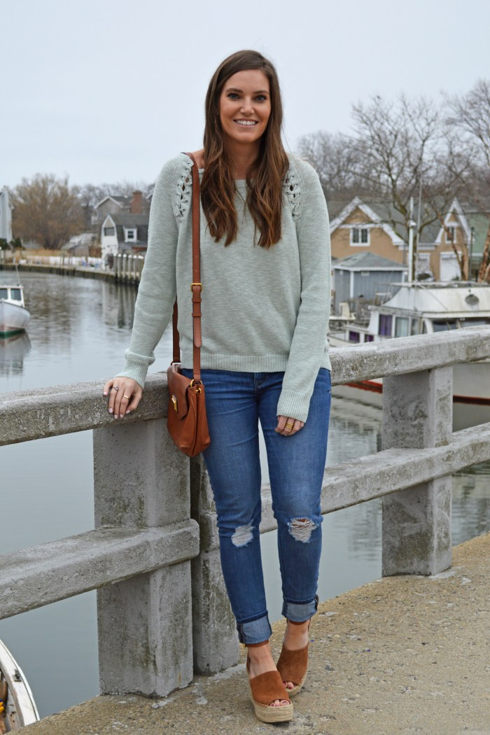 Spring Lace-up Sweater