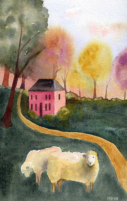 watercolor of folk art sheep