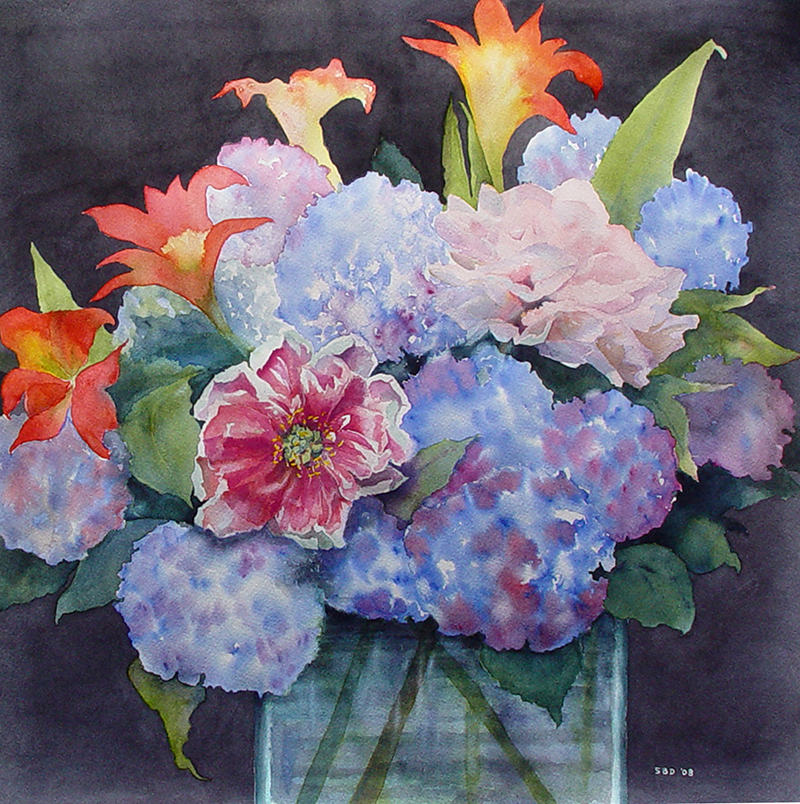 HYDRANGEAS, LILIES AND PEONIES IN A VASE