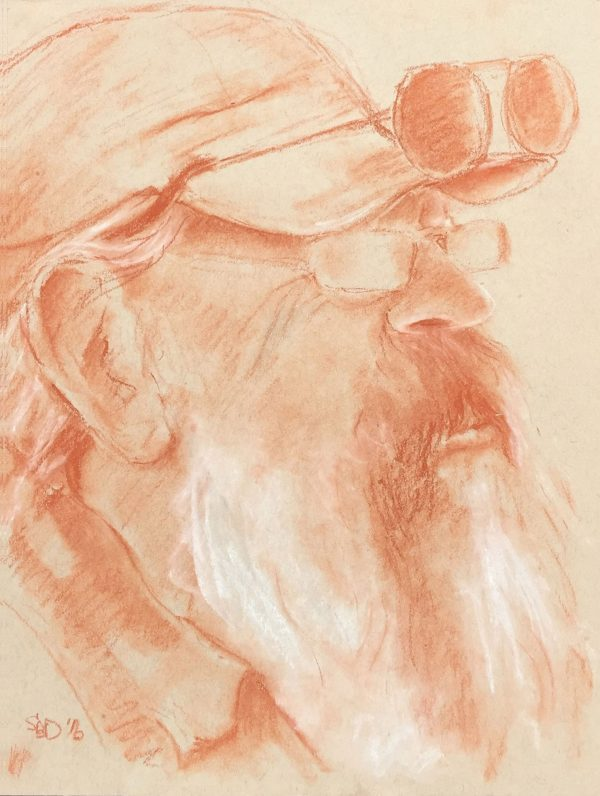 sepia pencil portrait on tan paper