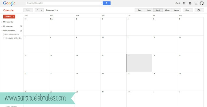 Using Google To Organize Your Blog-Creating Calendars-Blank Calendar
