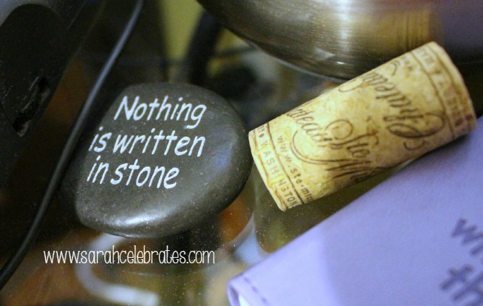 52 Lists 2015 - List 5 - Beside My Bed, Stone and Wine Cork | Sarah Celebrates