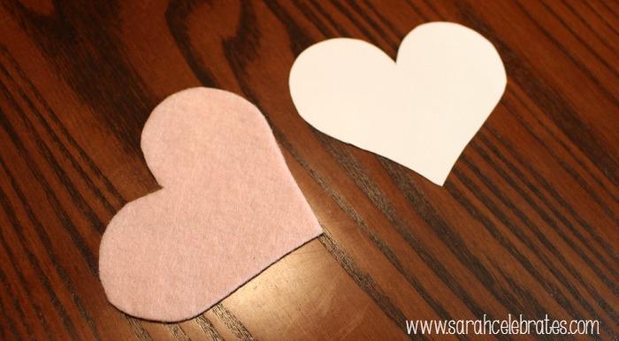 Felt Heart Bookmarks - Use heart template to make felt heart | Sarah Celebrates