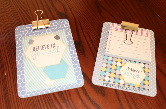 Mini Clipboards by Sarah Celebrates - Believe in Yourself and Never Forget