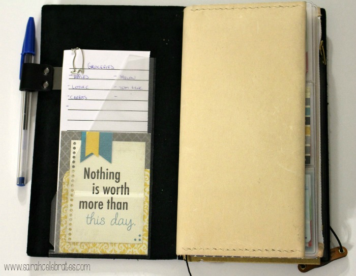 Way Cool Wallet - Original Midori Travelers Notebook As A Wallet, front pocket | Sarah Celebrates