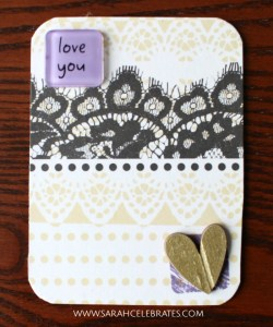 Valentines Artist Trading Cards - Love you, purple and gold #MixedMedia #atcs