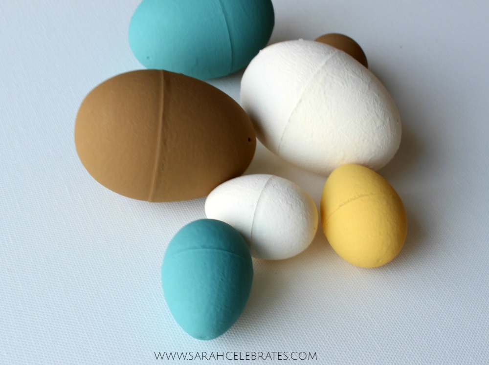 Childhood Easter Classic with Adult Style - a couple coats of Waverly chalk paint turns plain plastic eggs into stylish decor