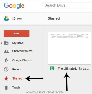 Join the Ultimate Linky List with Sarah Celebrates - Find the starred sheet in your Google Drive