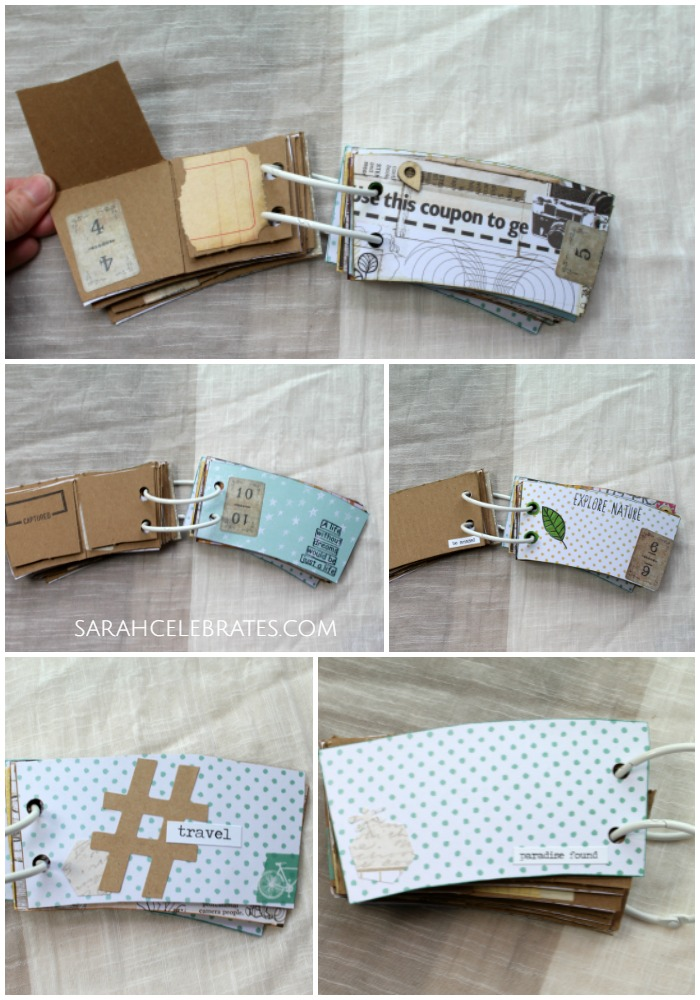 Mini Summer Book - favorite pages in coffee sleeve memory book upcycle