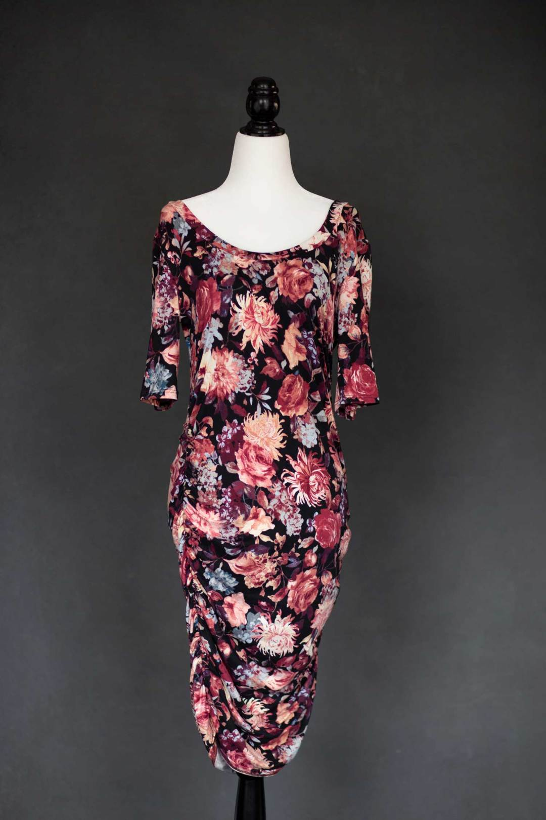 Pink and Black floral maternity dress