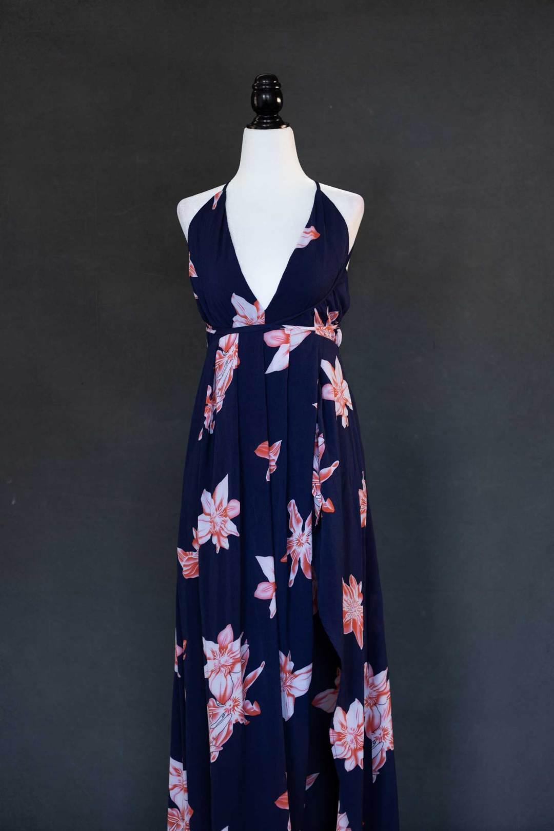 navy blue floral wrap dress
