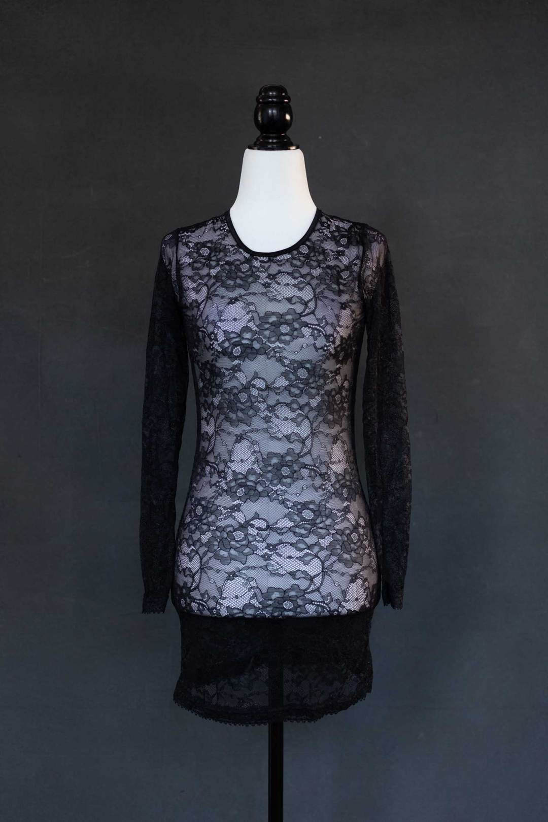 Black lace see through shirt