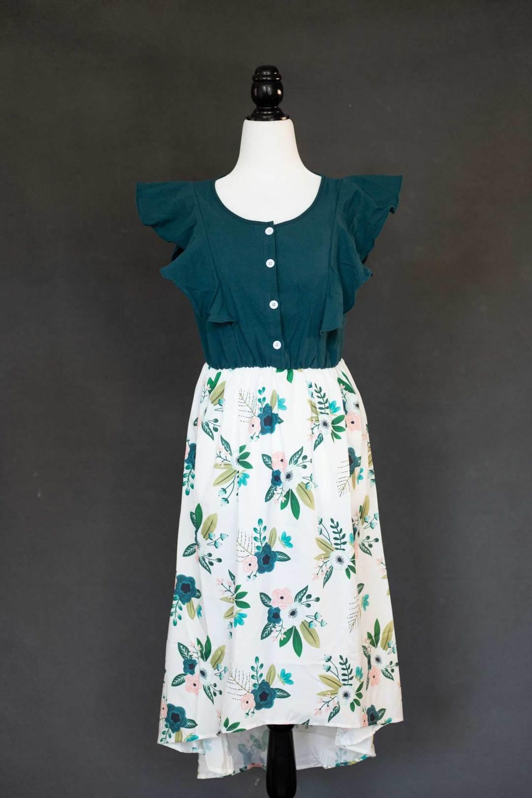 Deep teal floral dress