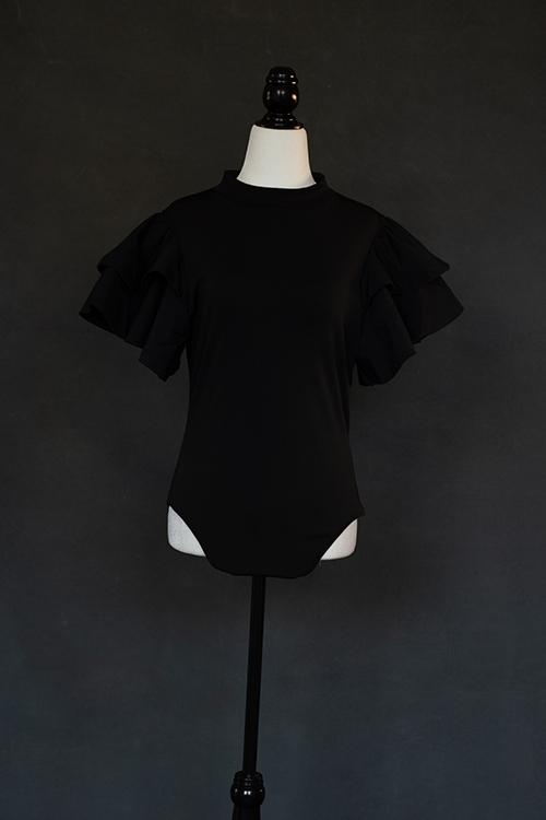 Black flutter sleeve Bodysuit