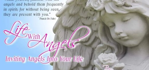 Face of an Angel statue holding a rose with the blog title Life with Angels: Inviting Angels Into Your Life