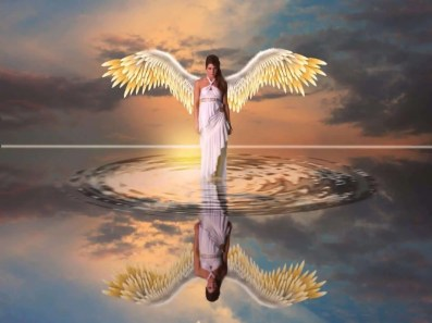 Illuminated angel standing above rippling water. Getting to know the angels.