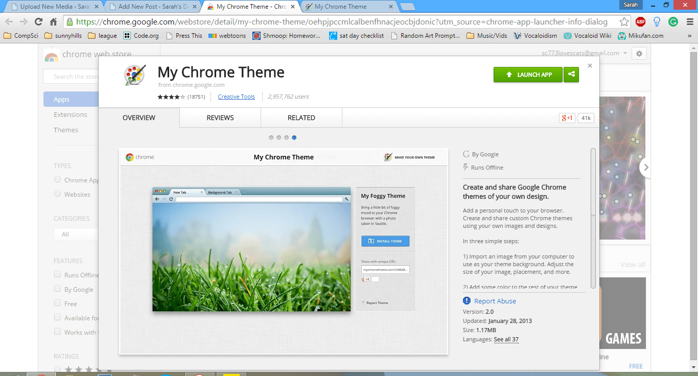 Google chrome themes about music