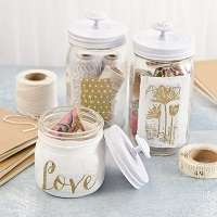 Get Organized: White and Gold Embossed Jars Project by Sarah Donawerth