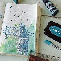 Dina Wakley-Inspired Splatter Art Journal Page