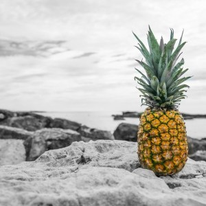 When You Feel Like You Stick Out ... (black and white and pineapple)