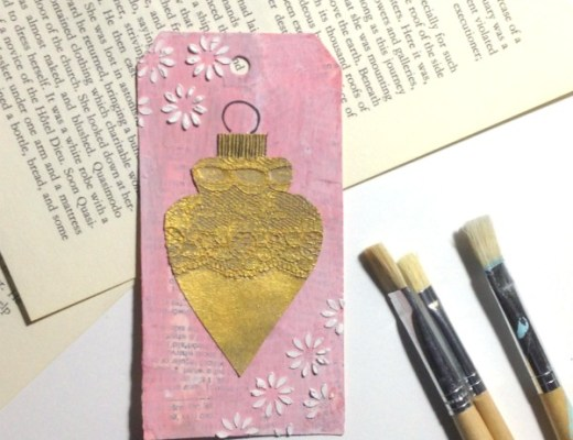 Pink and Gold Christmas Tree Ornament Mixed-Media Tag