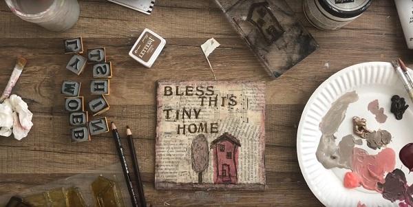 Bless This Tiny House DIY Mixed-Media Canvas