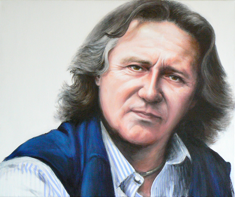 A portrait painting of Stephen Barlow conductor
