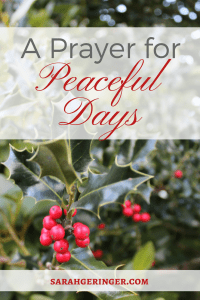 Pray in busy December days for greater peace.