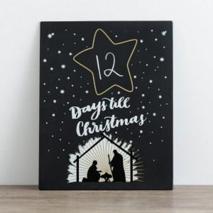 Chalkboard countdown calendar from Dayspring