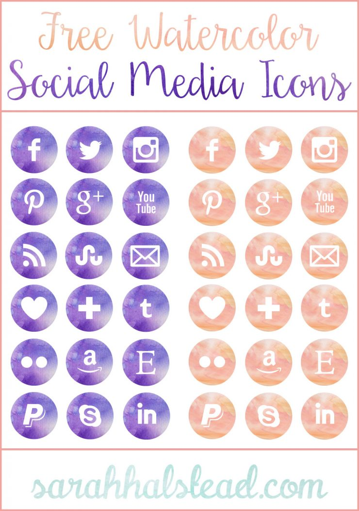 Free Watercolor Social Media Icons