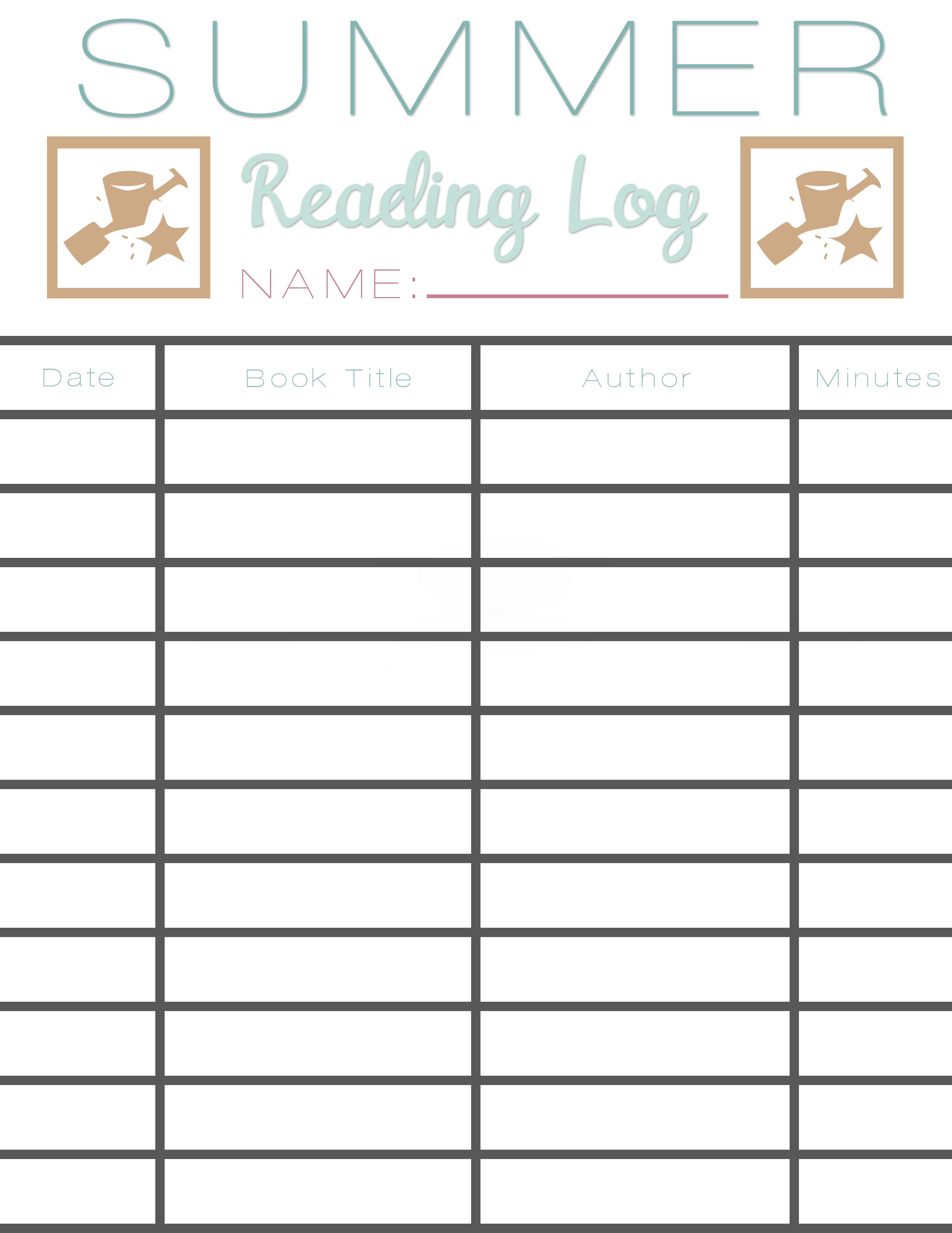 Summer Reading Log Earn Free Books