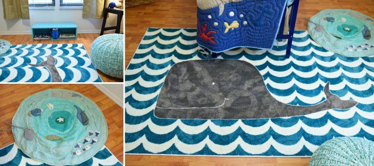 Whale Themed Nursery Rug