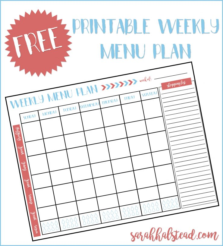 Weekly Menu Plan Printable  Sarah Halstead