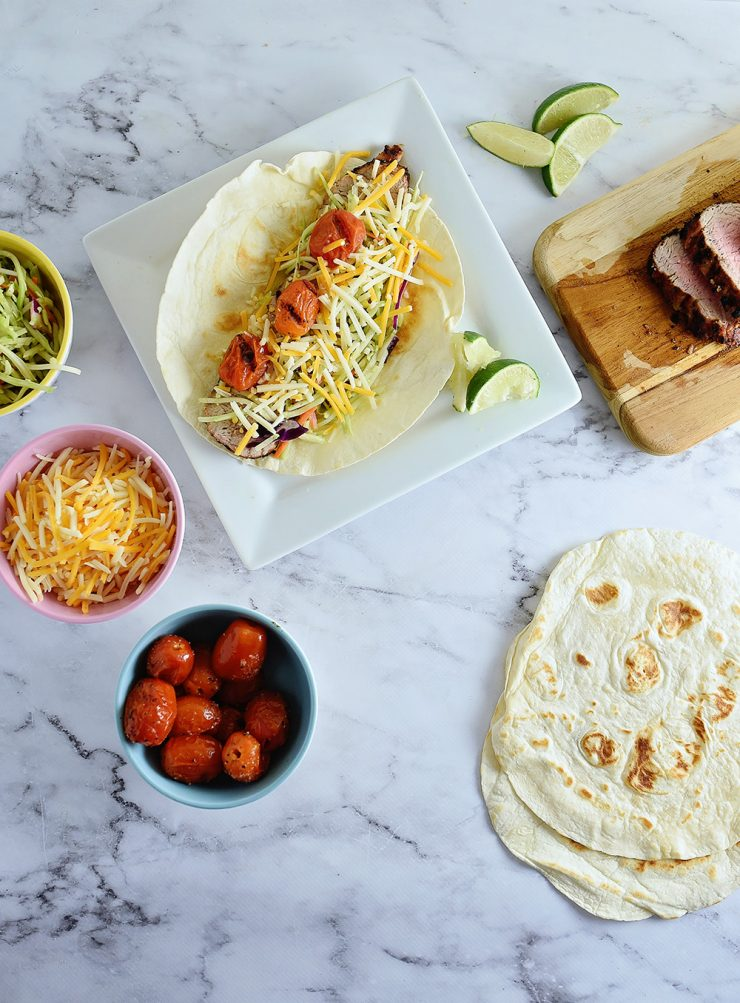 Grilled Chipotle Pork Tacos with Fire Roasted Tomatoes